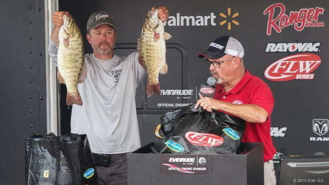 David Matual shows off part of his winning bag of bass. photo courtesy of FLWOutdoors.com