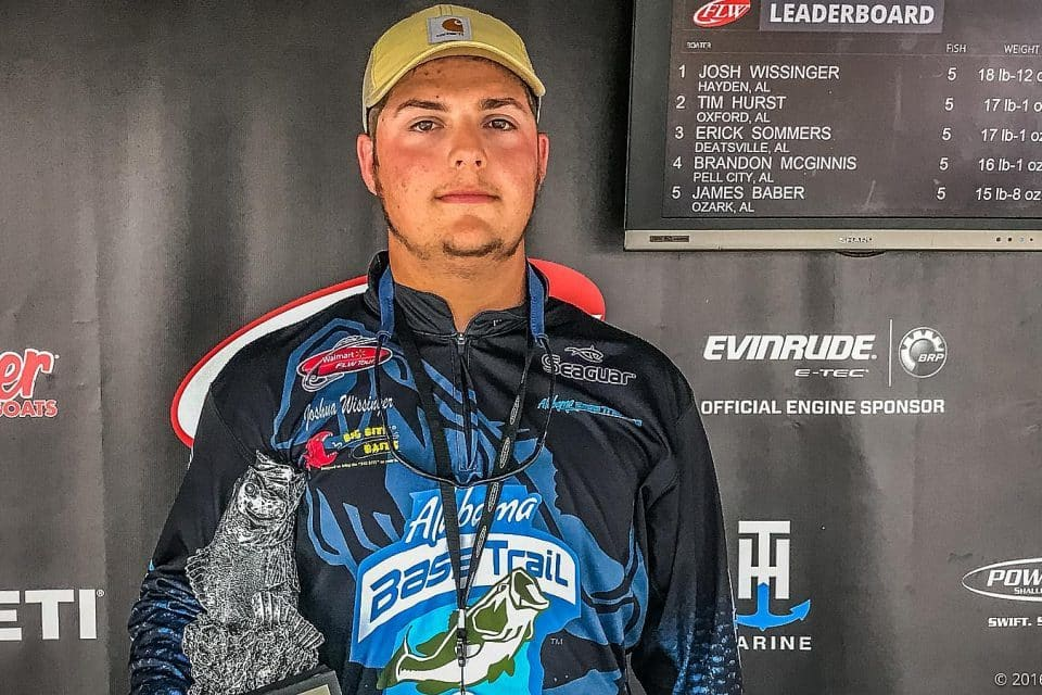 HAYDEN'S WISSINGER WINS T-H MARINE FLW BASS FISHING LEAGUE BAMA DIVISION EVENT ON LAKE MITCHELL